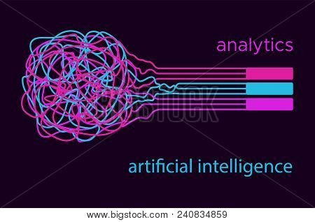 Big Data Vector Illustration. Machine Learning Algorithm For Information Filter And Anaytic In Flat