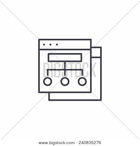 Website Structure Line Icon, Vector Illustration. Website Structure Linear Concept Sign.