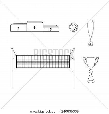 Volleyball Championship Collection. Vector Out Line Composition Of Volleyball Net, Ball, Cup, Winner