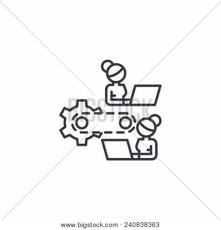 Work Process Line Icon, Vector Illustration. Work Process Linear Concept Sign.