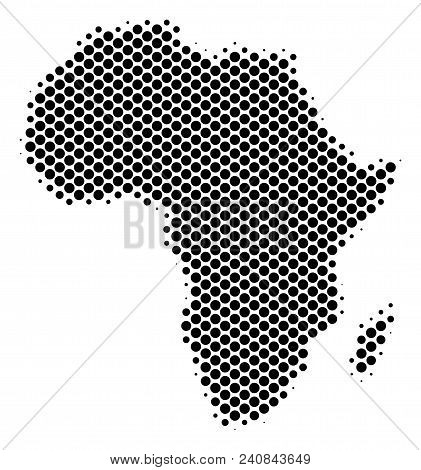 Abstract Africa Map. Vector Halftone Territorial Scheme. Cartographic Dot Composition. Schematic Afr