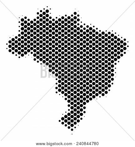 Abstract Brazil Map. Vector Halftone Territorial Plan. Cartographic Dot Concept. Schematic Brazil Ma