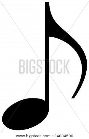Eighth note on a white background (musical symbol)