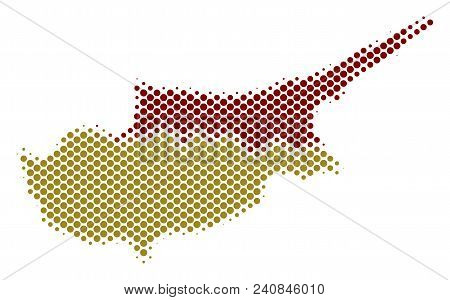 Abstract Cyprus Countries Map. Vector Halftone Territory Scheme. Cartographic Dotted Composition. Sc
