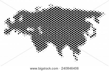 Abstract Eurasia map. Vector halftone geographic plan. Cartographic dot concept. Schematic Eurasia map is shaped with regular spheric point grid. poster
