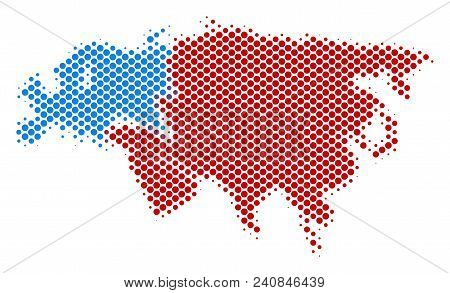 Abstract Europe And Asia Map. Vector Halftone Geographical Plan. Cartographic Dotted Composition. Sc