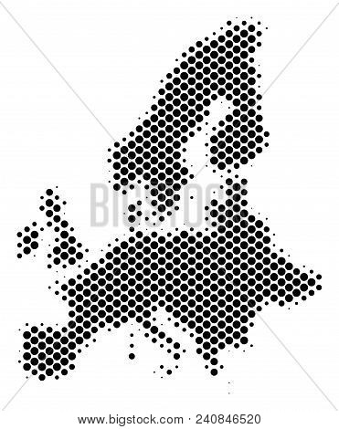 Abstract European Union Map. Vector Halftone Territory Plan. Cartographic Pixel Composition. Schemat