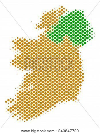 Abstract Ireland Countries Map. Vector Halftone Geographic Plan. Cartographic Pixelated Abstraction.