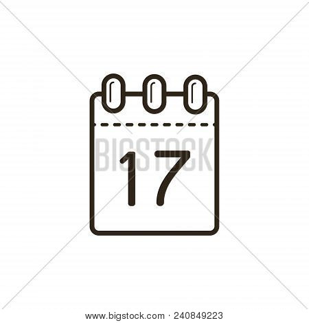 Black And White Linear Icon Of The Tear-off Calendar With Number Seventeen