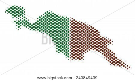 Abstract New Guinea Countries Map. Vector Halftone Territorial Plan. Cartographic Pixelated Composit