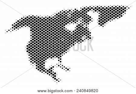 Abstract North America Map. Vector Halftone Territorial Scheme. Cartographic Dotted Composition. Sch