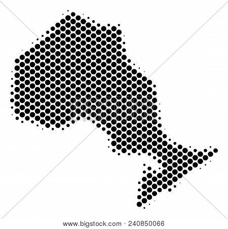 Abstract Ontario Province Map. Vector Halftone Territory Plan. Cartographic Pixelated Composition. S