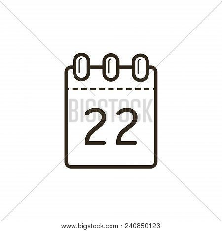 Black And White Linear Icon Of The Tear-off Calendar With Number Twenty Two