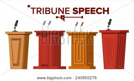 Tribune Set Vector. Podium Rostrum Stand With Microphones. Business Presentation Or Conference, Deba