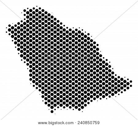 Abstract Saudi Arabia Map. Vector Halftone Geographical Plan. Cartographic Dot Abstraction. Schemati
