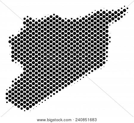 Abstract Syria Map. Vector Halftone Territorial Plan. Cartographic Pixel Concept. Schematic Syria Ma
