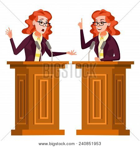 Speaker Woman Vector. Business Woman, Politician Giving Speech. Rostrum. Candidate. Isolated Flat Ca