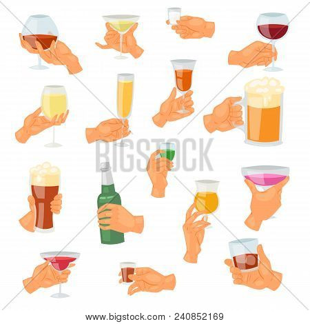 Beverage In Hand Vector Drinking Alcoholic Cocktail Tequila Martini Or Nonalcoholic Beer In Mug Illu