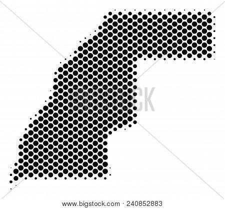 Abstract Western Sahara Map. Vector Halftone Territorial Plan. Cartographic Dot Abstraction. Schemat
