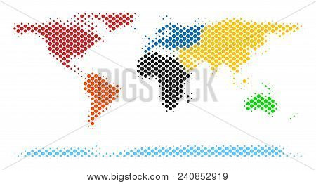 Abstract World Continent Map. Vector Halftone Territory Scheme. Cartographic Dotted Abstraction. Sch