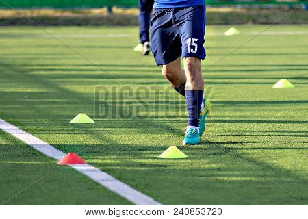 Soccer Football Players During The Team Training Before The Match. Exercises For Football Soccer You