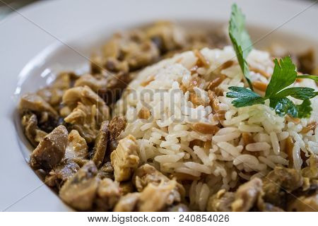 Traditional Turkish Food Rice With Meat,  Pilaf In A Cooking Pot