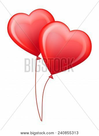 Red Glossy Helium Balloons In Shape Of Big Hearts On Thin Threads For Valentines Day Isolated Cartoo