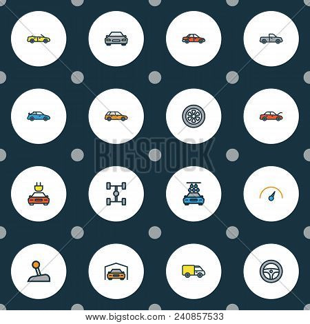 Automobile Icons Colored Line Set With Gear, Sport, Garage And Other Shed Elements. Isolated Vector
