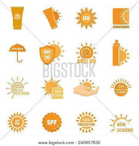 Sunscreen Sun Protection Logo Icons Set. Flat Illustration Of 16 Sunscreen Sun Protection Logo Vecto