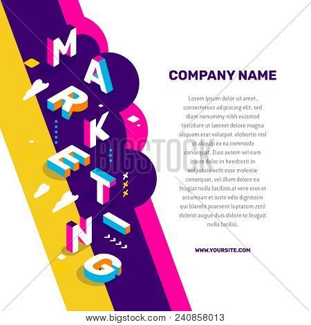 Marketing  Technology Concept. Vector Creative Abstract Illustration Of 3D Marketing Word Lettering