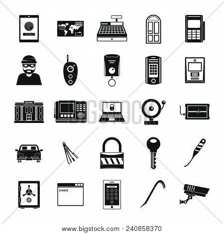 Burglar Robber Mugger Plunderer Icons Set. Simple Illustration Of 25 Burglar Robber Mugger Plunderer
