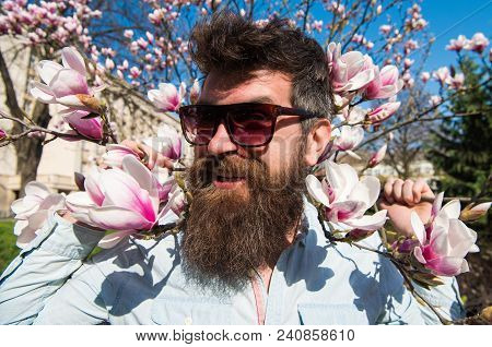 Guy Looks Cool With Stylish Sunglasses. Springtime Concept. Man With Beard And Mustache Wears Sungla