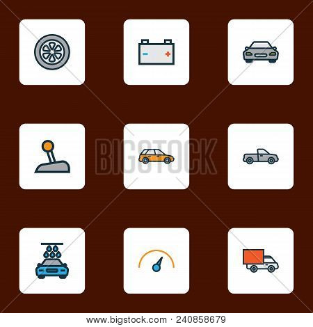 Car Icons Colored Line Set With Battery, Wheel, Station Wagon And Other Level  Elements. Isolated  I