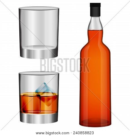 Whisky Bottle Glass Imockup Set. Realistic Illustration Of 3 Whisky Bottle Glass Vector Mockups For