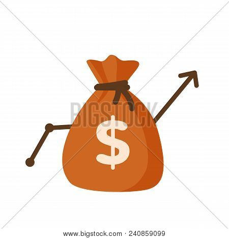 Money Bag With The Graph Up Positive Business Concept Isolated On White Background. Vector Stock.