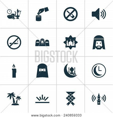 Religion Icons Set With Clock, Muslim, Adhaan And Other Meal Eaten Elements. Isolated  Illustration