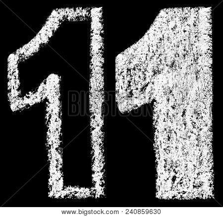 Handwritten White Chalk Arabic Number 1 Isolated On Black Background, Hand-drawn Chalk Numerals, Sto