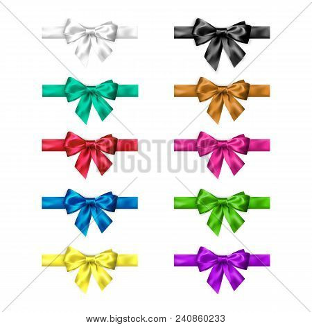 Colorful Silk Bow Set With Ribbons. Decoration Collection Of Elegant Bows. Bow Design Different Colo
