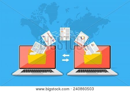 File Transfer. Two Laptops With Folders On Screen And Transferred Documents. Copy Files, Data Exchan