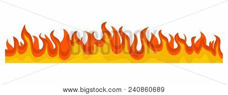 Burning Fire Flame Banner Horizontal. Flat Illustration Of Vector Burning Fire Flame Banner Horizont