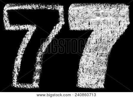 Handwritten White Chalk Arabic Number 7 Isolated On Black Background, Hand-drawn Chalk Numerals, Sto