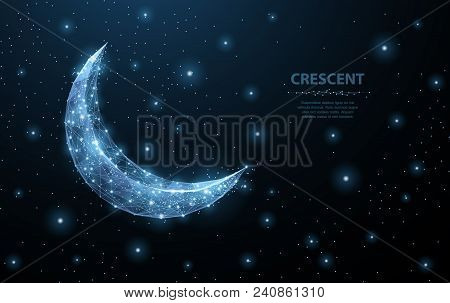 Vector Crescent Moon. Abstract Polygonal Wireframe Moon Illustration On Dark Blue Night Sky Backgrou