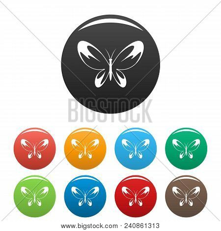 Wide Wing Butterfly Icon. Simple Illustration Of Wide Wing Butterfly Vector Icons Set Color Isolated