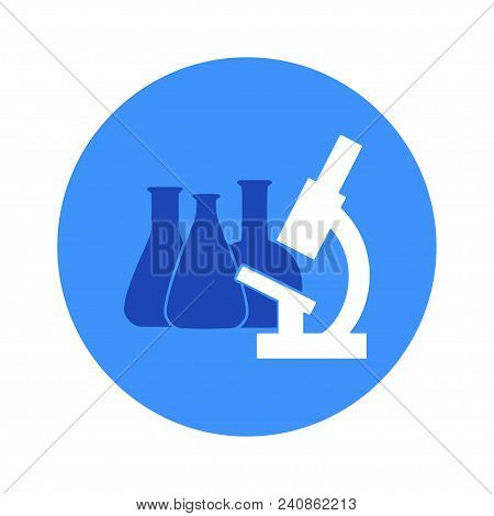 Vector Illustration Of Chemical Lab Test Tube And Microscope Icon. Micro Biology Laboratory Flask Sy