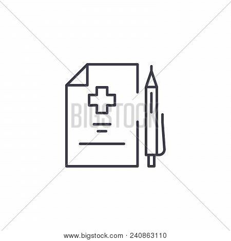 Medical Prescription Line Icon, Vector Illustration. Medical Prescription Linear Concept Sign.