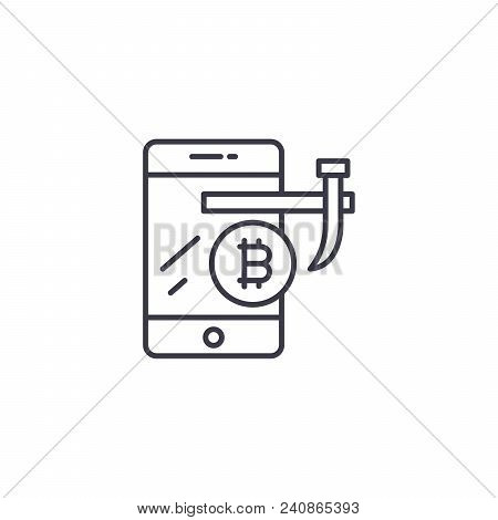 Mining With Gpu Line Icon, Vector Illustration. Mining With Gpu Linear Concept Sign.