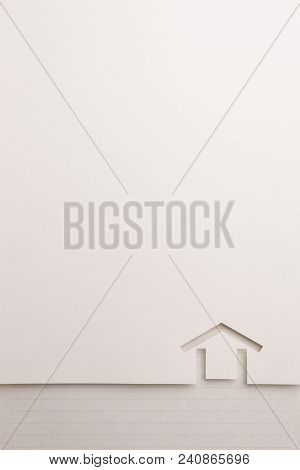 Background Of White Paper Cutout In Minimal House Shape Border By Black Line Notepaper, For Home And
