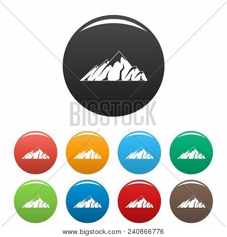 Alpine Mountain Icon. Simple Illustration Of Alpine Mountain Vector Icons Set Color Isolated On Whit