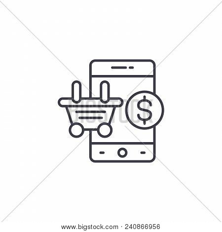 Mobile Shopping Line Icon, Vector Illustration. Mobile Shopping Linear Concept Sign.