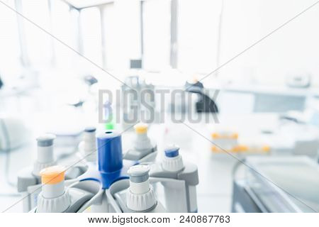 Laboratory Interior Out Of Focus. Blur Image Of Modern Medical, Biological Or Chemical Laboratory Wi